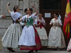 Folk dancers in Plaza de la Virgin
