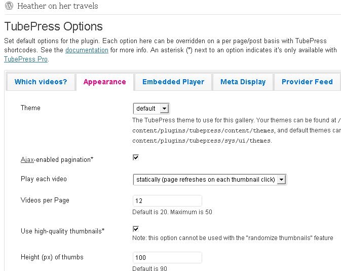 Heatheronhertravels Tubepress options