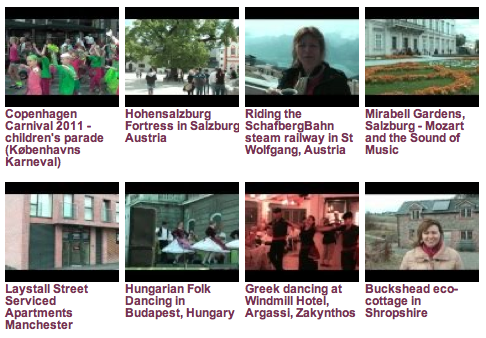 Video archive page at Heatheronhertravels.com