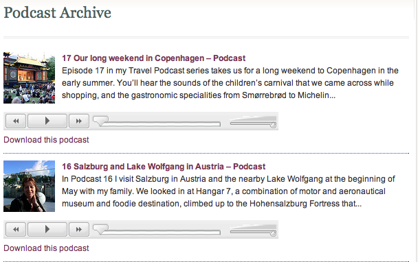 Podcast Archive page at Heatheronhertravels.com