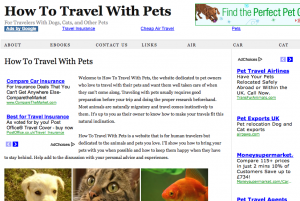 adsense used on Travel with Pets website