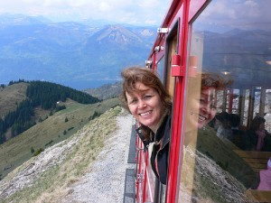 Here I am riding the Schafburgbahn Steam railway when I visited Lake Wolfgang as a guest of Austrian Tourism
